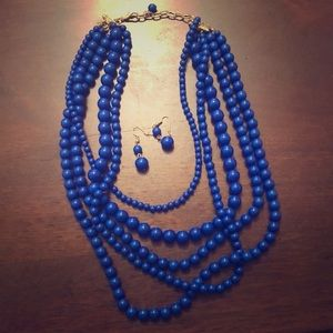 Blue Multi-Layered Beaded Necklace with Earrings